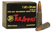Tulammo UL076206 Centerfire Rifle 7.62X39 124GR Soft Point 20Bx/50Cs