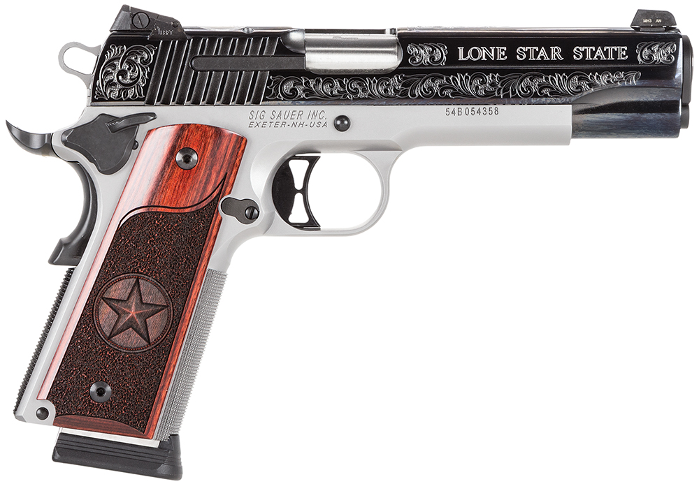 "Sig 191145TXS 1911 Texas Engraved Two Tone SAO 45ACP 5"" 8+1 Redwood Grip SS/Blk"
