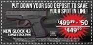 $50 VOUCHER ONLY - Glock 43 9mm Single Stack 3.39 Inch Barrel Fixed Sights Black 6 Round