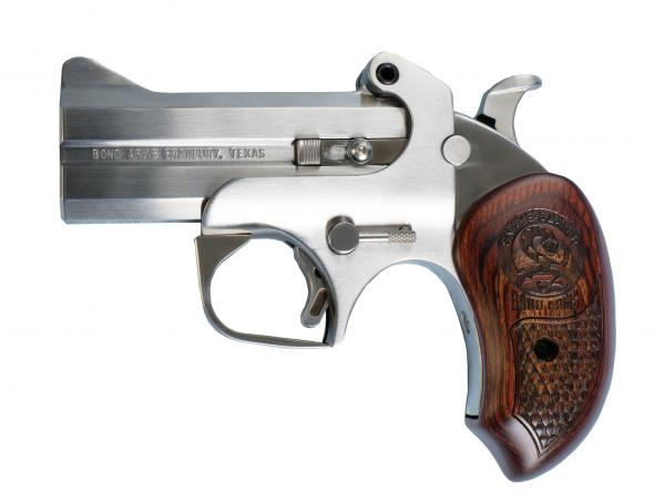 "Bond Arms Snake Slayer 410/45LC, 3.5"" Interchangable barrel, 2 Rounds, Stainless Steel Satin Finish, Rosewood Grips"