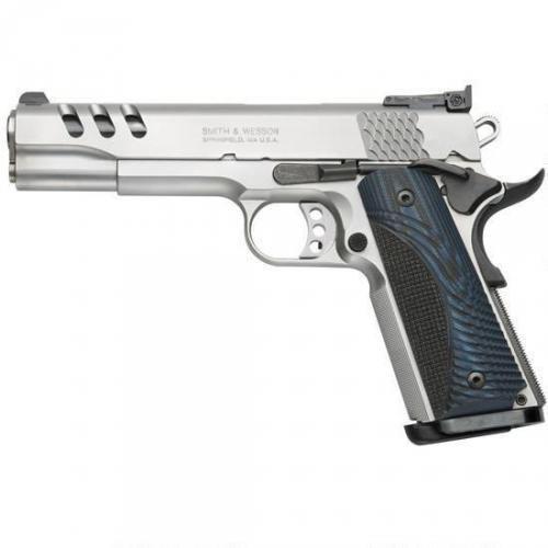 "Smith & Wesson 1911 Performance Center, Full Size, 45ACP, 5"" Barrel, Stainless Frame, Stainless Finish, Wood Grips, Adjustable Sights,  8Rd, 2 Magazines, Ambidextrous Safety 170343"