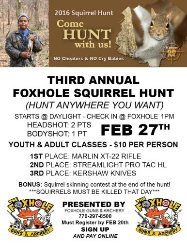 2016 FOXHOLE SQUIRREL HUNT SIGN UP