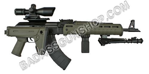 Century RAS47 American Made AK 7.62X39 with OD green Magpul adjustable side folding stock, Magpul handguard, Magpul pistol grip, 2.5-10x40 dual illuminated mildot scope, and bipod (NEW)!