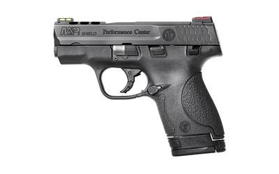 "Smith & Wesson M&P Shield, Performance Center, Semi-automatic, Double Action Only, Compact, 9MM, 3.1"" Barrel, Polymer Frame, Black Finish, 7 & 8RD, 2 Mags, Ported Barel, Thumb Safety, HiViz Sights 10108"