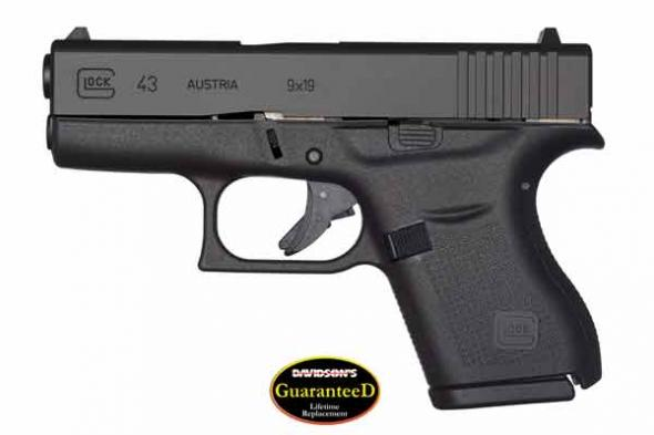 GLOCK 43 9MM WITH 2 MAGAZINES AND LIFETIME WARRANTY