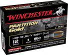 "Winchester Supreme Partition Gold 12 ga 3"" 385 Gr Sabot Slug Shot 5Box"