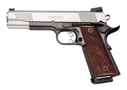 "Smith & Wesson 1911 Pro 45 ACP 5"" 8+1 Wood Grip Fiber Optic Sight Stainless Finish"
