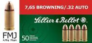 Sellier & Bellot Pistol 32 ACP 73Gr Full Metal Jacket 50
