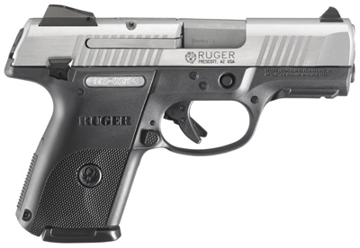 "Ruger SR9C Compact 9mm 3.5"" 10+1 Black Syn Grip & Frame Brushed Stainless"