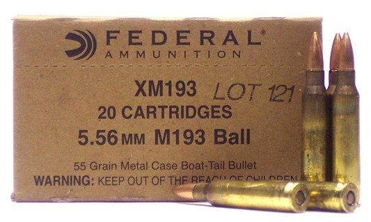 Federal XM193 XM 223 Remington/5.56 Nato Boat Tail Metal Case 55 GR 20Box/25Case