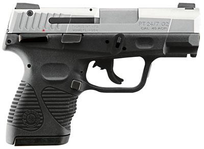 "Taurus 24/7 G2 Compact 45ACP 3.5"" 12+1 Blk Poly Grip/Frame SS Slide"